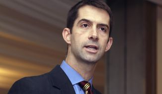 FILE - In this Nov. 1, 2013 file photo, U.S. Rep. Tom Cotton, R-Ark., speaks at a meeting of university officials in Little Rock, Ark. Former Chief Justice Jack Holt Jr. Holt, a Democrat, filed an ethics complaint questioning Cotton's work for a management consulting firm claiming the freshman lawmaker violated House rules by not identifying any of the clients for whom he provided services in excess of $5,000. Republican Cotton is running for the U.S. Senate seat now held by U.S. Sen. Mark Pryor, a Democrat. (AP Photo/Danny Johnston, File)