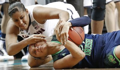 10ThingstoSeeSports - Connecticut forward Kaleena Mosqueda-Lewis, top, and Notre Dame guard Kayla McBride scramble for the ball during the first half of the championship game in the Final Four of the NCAA women's college basketball tournament, Tuesday, April 8, 2014, in Nashville, Tenn. (AP Photo/Mark Humphrey, File)