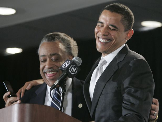 **FILE** Democratic presidential hopeful Sen. Barack Obama, D-Ill., laughs with Rev. Al Sharpton during a speech to an audience at the 9th annual National Action Network convention Saturday, April 21, 2007 in New York.  (AP Photo/Frank Franklin II)