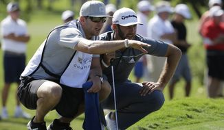 Dustin Johnson, right, listens to his caddie and brother Austin Johnson on the sixth hole during the second round of the Cadillac Championship golf tournament on Friday, March 7, 2014, in Doral, Fla. (AP Photo/Lynne Sladky)