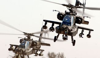 An air weapons team of two AH-64D Apaches from the 1st Battalion, 227th Aviation Regiment, 1st Air Cavalry Brigade, 1st Cavalry Division, come in for a landing at Camp Taji, Iraq, after completing a reconnaissance mission in the skies over Baghdad Nov. 6, 2007. (Image: U.S. Army) ** FILE **