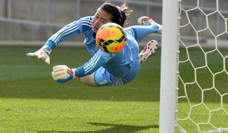 10ThingstoSeeSports - China goalkeeper Zhang Yue lets the ball slip past for a goal by U.S. midfielder Megan Rapinoe during the second half of an international friendly soccer match in Commerce City, Colo., on Sunday, April 6, 2014. (AP Photo/Jack Dempsey, File)