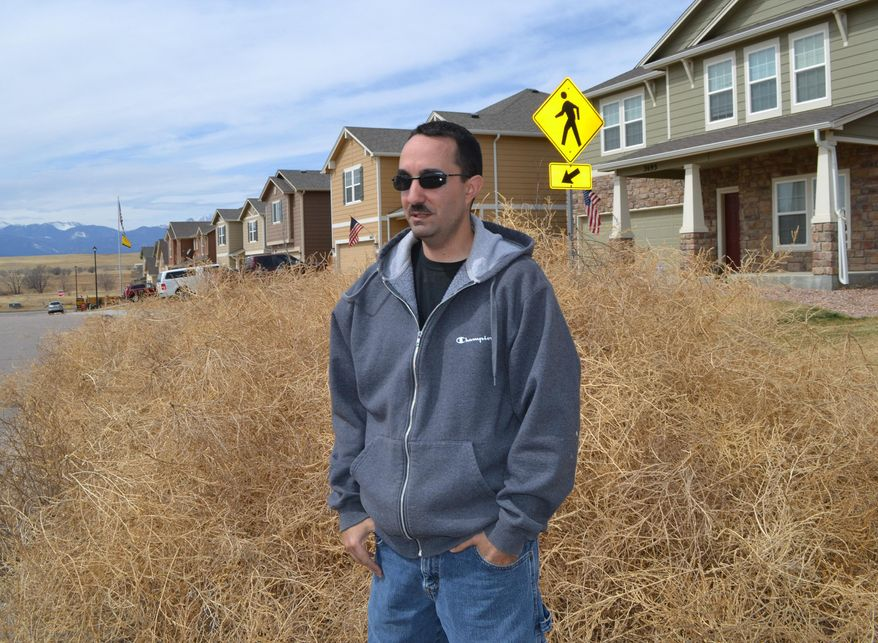 This March 21, 2014 photo shows Chris Talbott standing with a pile of tumbleweed in front of his home in Colorado Springs, Colo. Parts of Colorado are being overrun with tumbleweeds because of the drought affecting much of the western U.S. (AP Photo/P Solomon Banda)