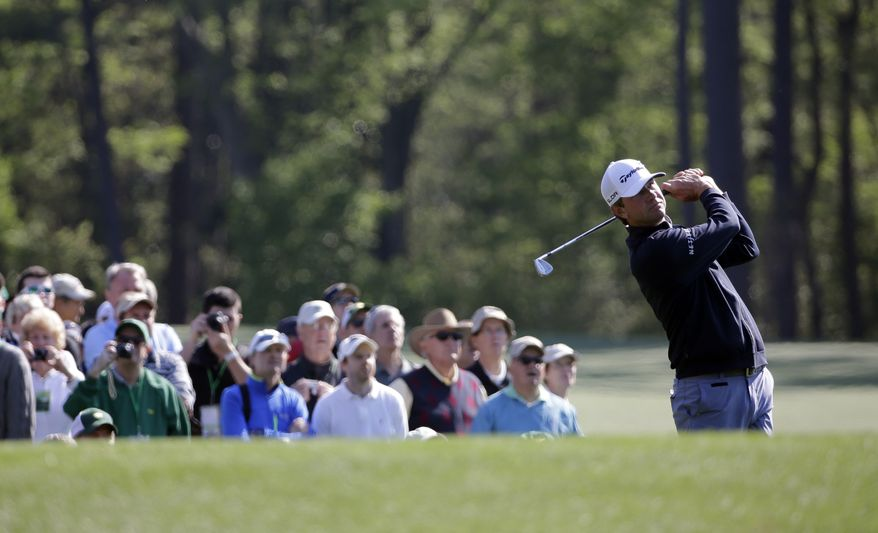 Lucas Glover tees off on the 12th hole during a practice round for the Masters golf tournament Wednesday, April 9, 2014, in Augusta, Ga. (AP Photo/David J. Phillip)