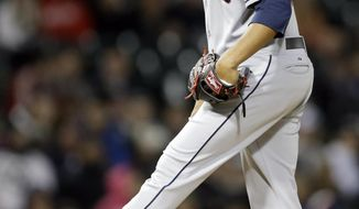 Cleveland Indians starter Danny Salazar kicks the mound during the fourth inning of a baseball game against the Chicago White Sox in Chicago, Thursday, April 10, 2014. (AP Photo/Nam Y. Huh)