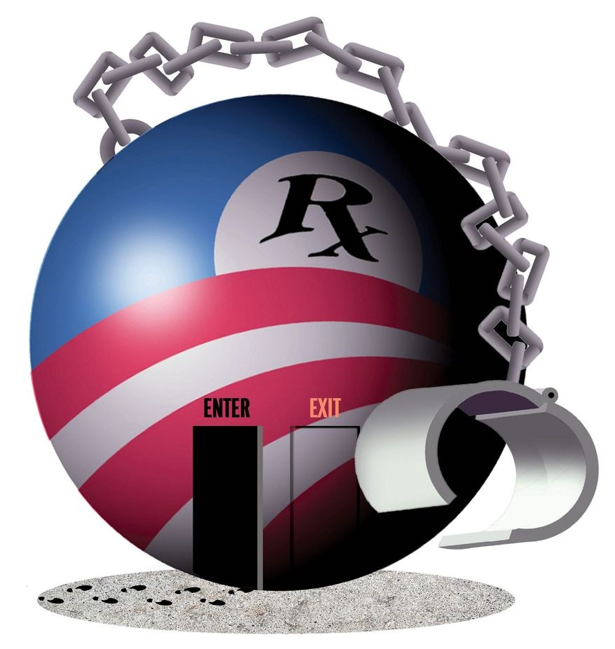 Illustration on Obamacare sign-ups by Alexander Hunter/The Washington Times
