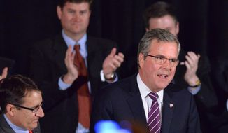Former Florida Gov. Jeb Bush gives the keynote address during the 36th annual Prescott Bush Awards Dinner at the Stamford Hilton, Stamford, Conn., Thursday April 10, 2014. (AP Photo/The Time, Bob Luckey)