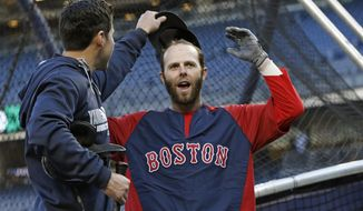 New York Yankees center fielder Jacoby Ellsbury, left, looks under the cap of Boston Red Sox's Dustin Pedroia after greeting his former teammates during batting practice before a baseball game between the teams at Yankee Stadium in New York, Thursday, April 10, 2014. (AP Photo/Kathy Willens)