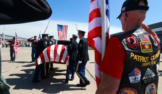 The casket of Army Sgt. Timothy W. Owens, greeted by a contingent of Patriot Guard Riders, is carried off after arriving at Lambert-St. Louis International Airport on Friday, April 11, 2014, in St. Louis, Mo., Owens. 37. was one of three soldiers killed by a gunman at the 1st Medical Brigade area at Fort Hood on April 2. The accused gunman, Spc. Ivan Antonio Lopez, also wounded 16 soldiers before committing suicide. The funeral is scheduled for Saturday in Rolla, Mo. (AP Photo/St. Louis Post-Dispatch, Christian Gooden)  EDWARDSVILLE INTELLIGENCER OUT; THE ALTON TELEGRAPH OUT