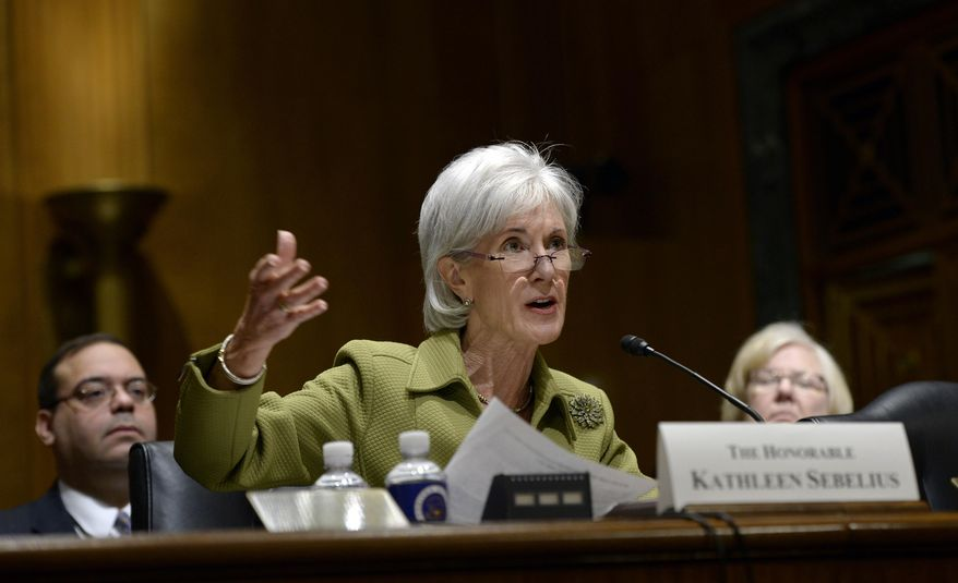 Health and Human Services Secretary Kathleen Sebelius testifies on Capitol Hill in Washington, Thursday, April 10, 2014, before the Senate Finance Committee hearing on the HHS Department's fiscal Year 2015 budget. Sebelius said 7.5 million Americans have now signed up for health coverage under President Barack Obama's health care law. That's a 400,000 increase from the 7.1 million that Obama announced last week at the end of the law's open enrollment period. The figure exceeded expectations, a surprise election-year success for the law after a disastrous roll-out.    (AP Photo/Susan Walsh)