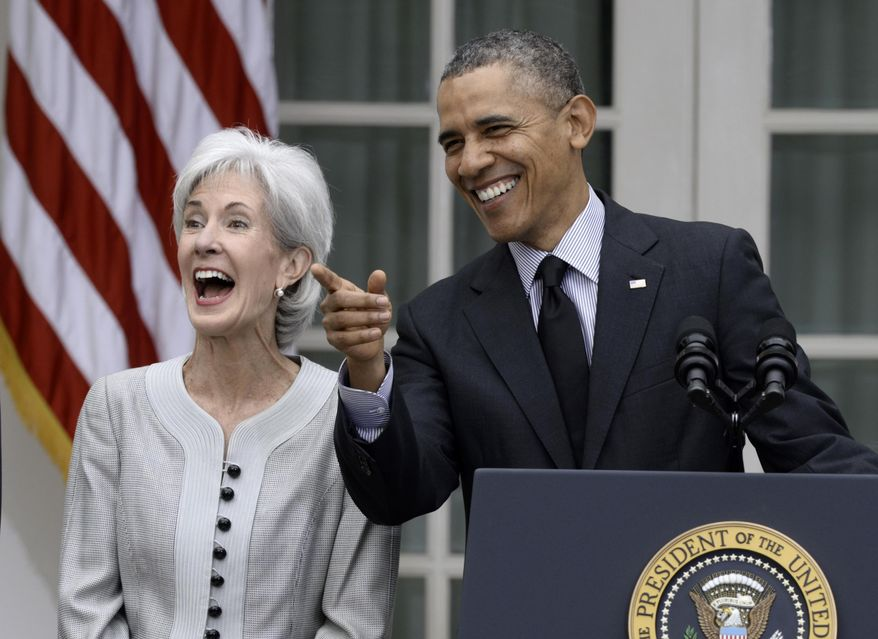 President Barack Obama shares a laugh with outgoing Health and Human Services Secretary Kathleen Sebelius, Friday, April 11, 2014, in the Rose Garden of the White House in Washington to announce he would nominate current Budget director Sylvia Mathews Burwell to replace Sebelius. (AP Photo/Susan Walsh)