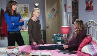 "This undated photo released by CBS shows, from left, Allison Janney as Bonnie, Anna Faris as Christy, and Sadie Calvano as Violet, in the episode ""Sonograms and Tube Tops"" from the TV series, ""Mom,"" March 3, 2014 (9:30-10:00 PM, ET/PT) on the CBS Television Network. The sitcom ends its first season Monday, April 14, 2014, with a story line about adoption. (AP Photo/CBS, Monty Brinton)  MANDATORY CREDIT, NO SALES, NO ARCHIVE, FOR NORTH AMERICAN USE ONLY"
