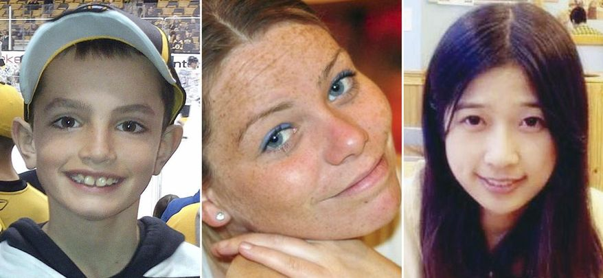 ** FILE ** This combination of undated family photos shows, from left, Martin Richard, 8, Krystle Campbell, 29, and Lingzi Lu, a Boston University graduate student from China. Richard, Campbell and Lu were killed in the bombings near the finish line of the Boston Marathon on April 15, 2013, in Boston. (AP Photo/File)