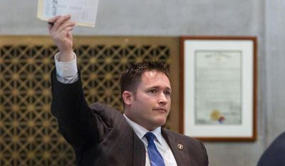 Rep. Micah Van Huss, R-Jonesborough, gestures during a House floor session in Nashville, Tenn., Monday, April 14, 2014. (AP Photo/Erik Schelzig) **FILE**