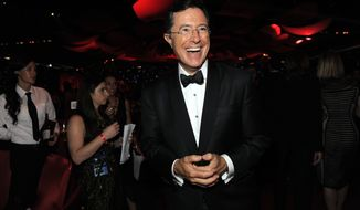 """FILE - This Sept. 23, 2012 file photo shows TV personality Stephen Colbert at the 64th Primetime Emmy Awards Governors Ball in Los Angeles. Colbert will be paying a visit to CBS' """"Late Show,"""" his future home. The network said Tuesday that Colbert will be a guest on """"Late Show with David Letterman"""" on Tuesday, April 22, 2014.  (Photo by Chris Pizzello/Invision/AP, File)"""