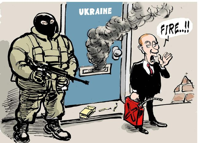 Illustration on Putin in Ukraine by TOM, Trouw, Amsterdam, the Netherlands