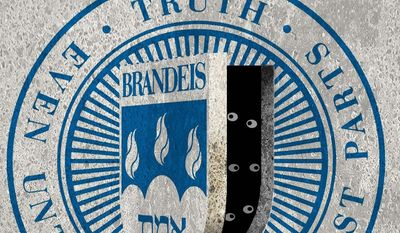 Illustration on Brandeis University by Alexander Hunter/The Washington Times