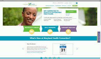 This screen image shows the website for Maryland's online health care exchange. (State of Maryland via Associated Press)