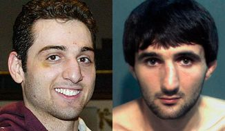 "FILE - This combination of file photos shows Tamerlan Tsarnaev, left, a suspect in the 2013 Boston Marathon bombings, and Ibragim Todashev. Within weeks of the bombings, Massachusetts authorities went to Florida to interview Todashev, a friend of Tamerlan, who implicated both himself and Tamerlan in a triple killing in Waltham, Mass. Waltham City Councilor Gary Marchese says, ""Let's put it this way: If they had arrested Tamerlan as one of the killers in the triple killing before the marathon bombing, it certainly would have affected the outcome of the marathon bombing."" (AP Photo/The Lowell Sun, Julia Malakie, Orange County Corrections Department)"