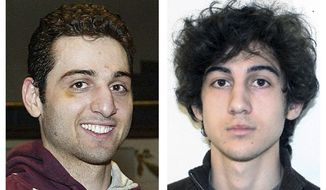 FILE - This combination of file photos shows brothers Tamerlan, left, and Dzhokhar Tsarnaev, suspects in the Boston Marathon bombings on April 15, 2013. Tamerlan Tsarnaev died after a gunfight with police several days later, and Dzhokhar Tsarnaev, was captured and is held in a federal prison on charges of using a weapon of mass destruction. A year after the bombings, prosecutors said they have a trove of evidence to use against Dzhokhar Tsarnaev, including surveillance video showing him placing one of the bombs just yards from Martin Richard, the 8-year-old boy who died in the blast. (AP Photos/Lowell Sun and FBI, File)