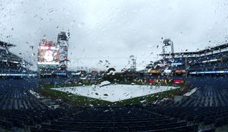 A tarp covering the infield at Citizens Bank Park is seen through a rain-covered glass panel during a light storm, Tuesday, April 15, 2014, in Philadelphia. The baseball game between the Phillies and the Atlanta Braves has been postponed due to inclement weather. (AP Photo/Matt Slocum)