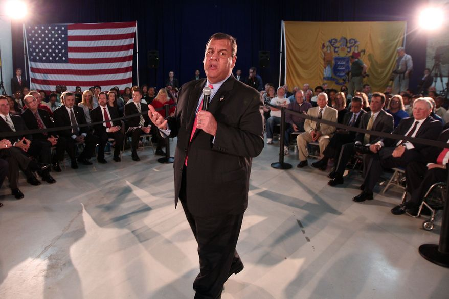 ** FILE ** New Jersey Gov. Chris Christie speaks at a town hall at the Somerset National Guard Armory, Tuesday, April 15, 2014, in Somerset, N.J. (AP Photo/The Daily Record, Bob Karp)