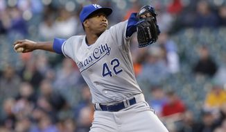 Kansas City Royals' Yordano Ventura delivers a pitch against the Houston Astros in the first inning of a baseball game Tuesday, April 15, 2014, in Houston. All the players on both teams are wearing jerseys with No. 42 to honor Jackie Robinson. (AP Photo/Pat Sullivan)