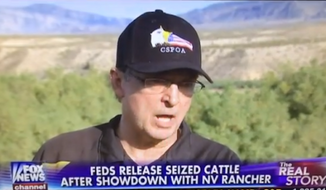 "Former Arizona sheriff Richard Mack says he and other organizers at Cliven Bundy's ranch in Nevada were contemplating using women and children as human shields in case ""rogue federal officers"" opened fire. (Fox News via YouTube)"