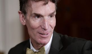 "FILE - In an Oct. 18, 2010 file photo, Bill Nye, host of the Emmy-winning 1990s television show ""Bill Nye the Science Guy,"" arrives at a White House science fair in Washington. Nye said he underestimated the impact of a February 2014 debate in Kentucky on evolution and creationism that drew a massive online audience. (AP Photo/J. Scott Applewhite, File)"
