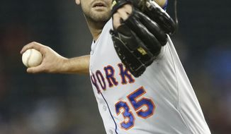 New York Mets pitcher Dillon Gee throws to the Arizona Diamondbacks in the first inning of a baseball game on Wednesday, April 16, 2014, in Phoenix, Ariz. (AP Photo/The Arizona Republic, Rob Schumacher) MARICOPA OUT; NO SALES