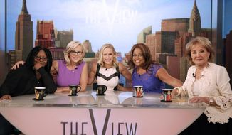 "This April 15, 2014, photo provided by ABC shows, from left, co-hosts Whoopi Goldberg, Jenny McCarthy, political commentator, guest Margaret Hoover, Sherri Shepherd, and Barbara Walters, on ABC's show ""The View."" The show will gather all 11 past and present co-hosts to salute Walters as she retires from daily television in a first-ever reunion that will air on the May 15, episode, the day before Walters says goodbye as series co-host. (AP Photo/ABC, Heidi Gutman)"