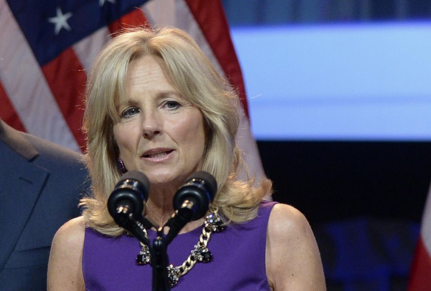 Jill Biden, wife of Vice President Joe Biden, speaks in Washington on April 7, 2014. (Associated Press/file)