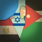 Illustration on three state solution for Israel and Palestine by Alexander Hunter/The Washington Times
