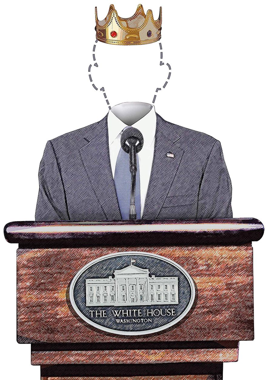 King news conference Illustration by Greg Groesch/The Washington Times
