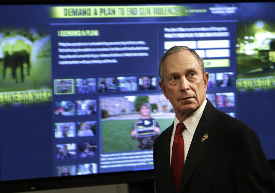 ** FILE ** In this Dec. 17, 2012, file photo, then New York Mayor Michael Bloomberg speaks at a news conference in New York where he and dozens of shooting survivors and victims' relatives called on Congress and President Obama to tighten gun laws and enforcement. (AP Photo/Seth Wenig, File)