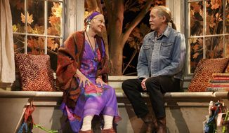 "This image released by Polk & Co., shows Estelle Parsons, left, and Stephen Spinella during a performance of ""The Velocity of Autumn,"" at the Booth Theatre in New York. (AP Photo/Polk & Co., Joan Marcus)"