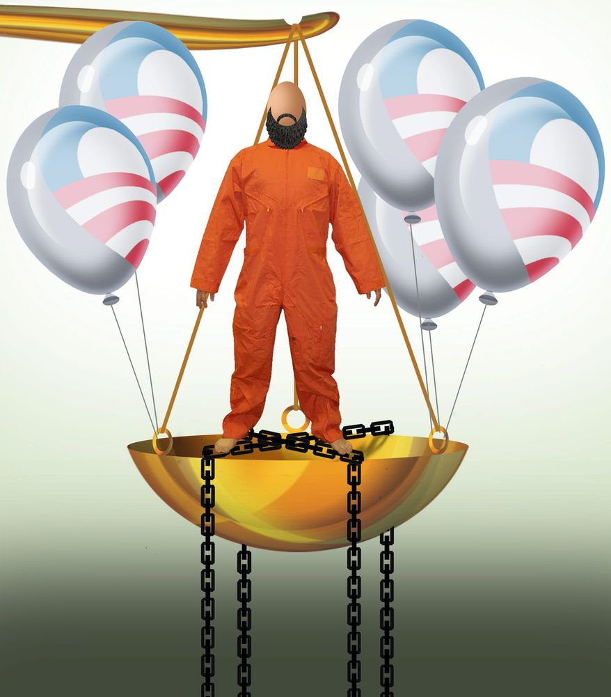 Illustration on Obama interference with Guantanamo tribunals by Alexander Hunter/The Washington Times