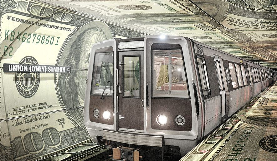 Illustration on Metrorail overspending by Alexander Hunter/The Washington Times