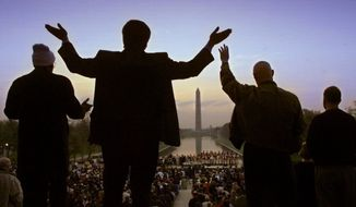 Christian worshipers will be singing once again on Sunday from atop the steps of the Lincoln Memorial in Washington for the 36th annual Easter Sunrise Service. (ASSOCIATED PRESS)