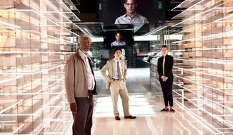 "Morgan Freeman, from left, Cillian Murphy, and Rebecca Hall star in a scene from the sci-fi thriller, ""Transcendence."" (Warner Bros. Pictures Via Associated Press)"