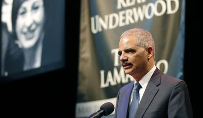 United States Attorney General Eric Holder gives remarks during an Interfaith Service of Unity and Hope at the Jewish Community Center in Overland Park, Kan., Thursday, April 17, 2014.   Frazier Glenn Cross, 73, is charged with the killings Sunday of Dr. William Lewis Corporon and his grandson, Reat Griffin Underwood, outside the Jewish Community Center of Greater Kansas City. Cross is also accused of killing Terri LaManno at a nearby Jewish retirement complex. (AP Photo/Orlin Wagner)