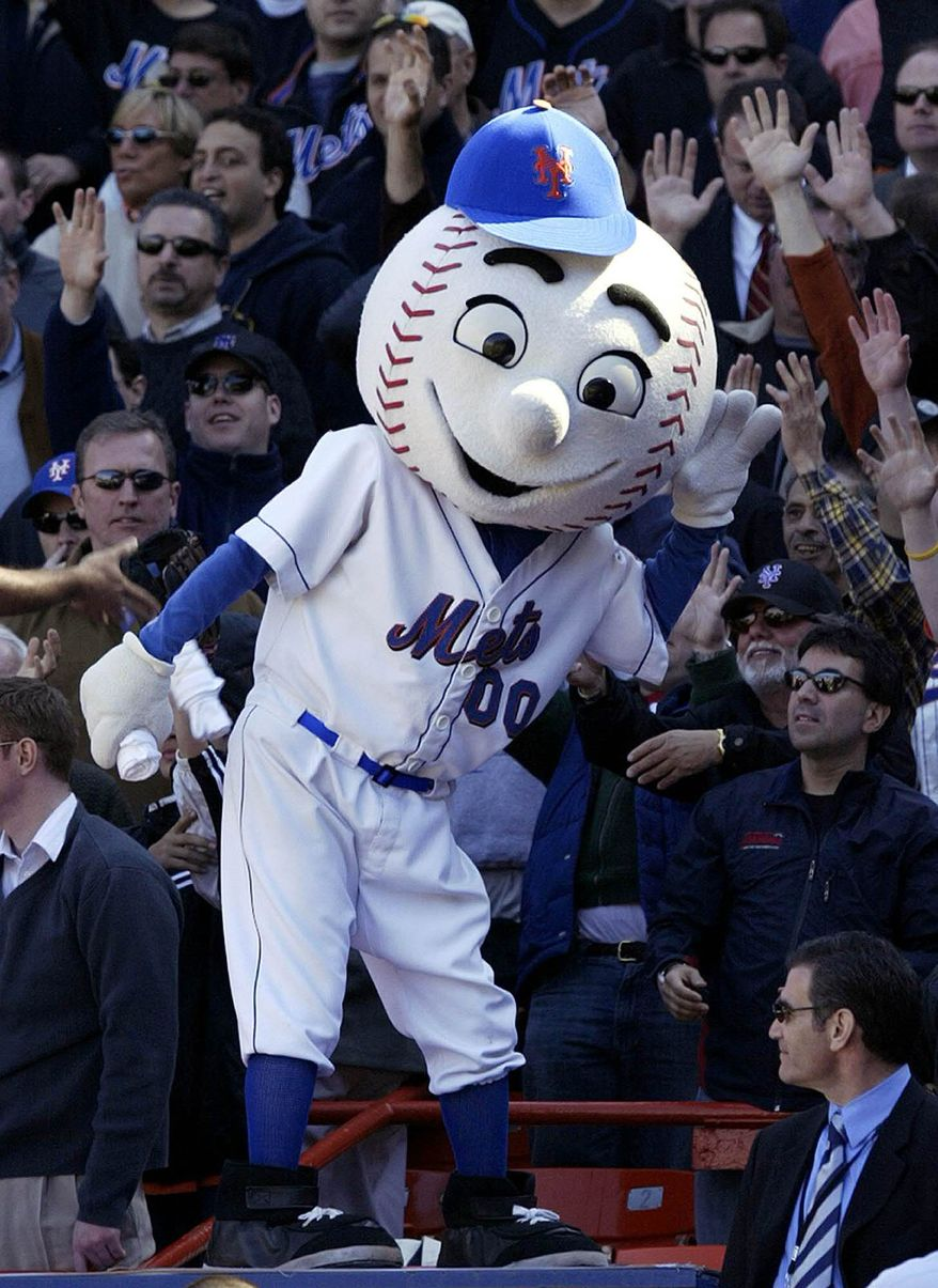 New York Mets mascot Mr. Met reacts with the crowd during the Mets home opener against the Houston Astros at Shea Stadium in New York, in this April 11, 2005, file photo. (AP Photo/Gregory Bull/File)
