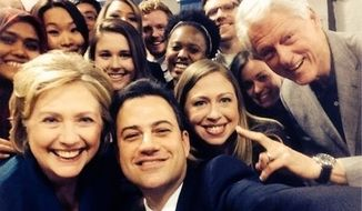 Jimmy Kimmel (center), posted this selfie with former first family the Clintons.