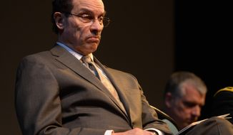 Mayor Vincent Gray, (D) offered remarks during the D.C. Fire & Emergency Medical Services Recruit Class 367 graduation at Gallaudet University in Northeast on April 17. Khalid Naji-Allah /Special to The Washington Times