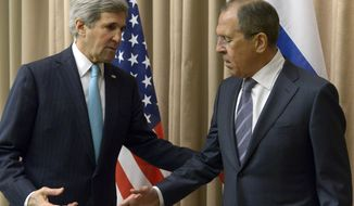 U.S. Secretary of State John Kerry, left, shakes hands with Russian Foreign Minister Sergey Lavrov before a bilateral meeting to discuss the ongoing situation in Ukraine as diplomats from the U.S., Ukraine, Russia and the European Union gather for discussions in Geneva Thursday, April 17, 2014.  Ukraine is hoping to placate Russia and calm hostilities with its neighbor even as the U.S. prepares a new round of sanctions to punish Moscow for what it regards as fomenting unrest. (AP Photo)