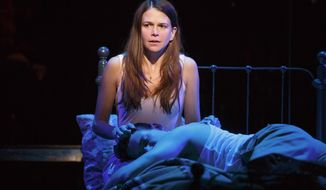 "This image released by Polk & Co. shows Sutton Foster during a performance of ""Violet"" in New York. (AP Photo/Polk & Co., Joan Marcus)"