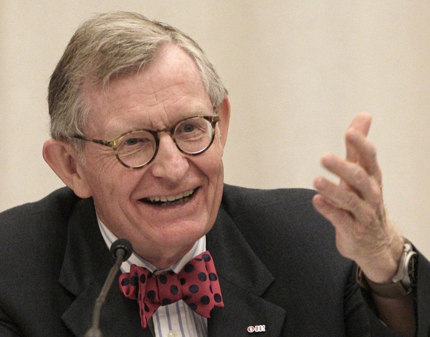 FILE - In this June 7, 2013 file photo, former Ohio State University president Gordon Gee gives his retirement speech during a board of trustees meeting in Columbus, Ohio. Ohio State University expects to save millions of dollars because Gee is giving up part of his retirement package as he becomes president of West Virginia University. (AP Photo/Jay LaPrete, File)