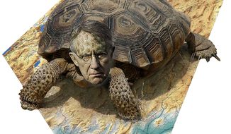 Illustration on Harry Reid of Nevada by Alexander Hunter/The Washington Times