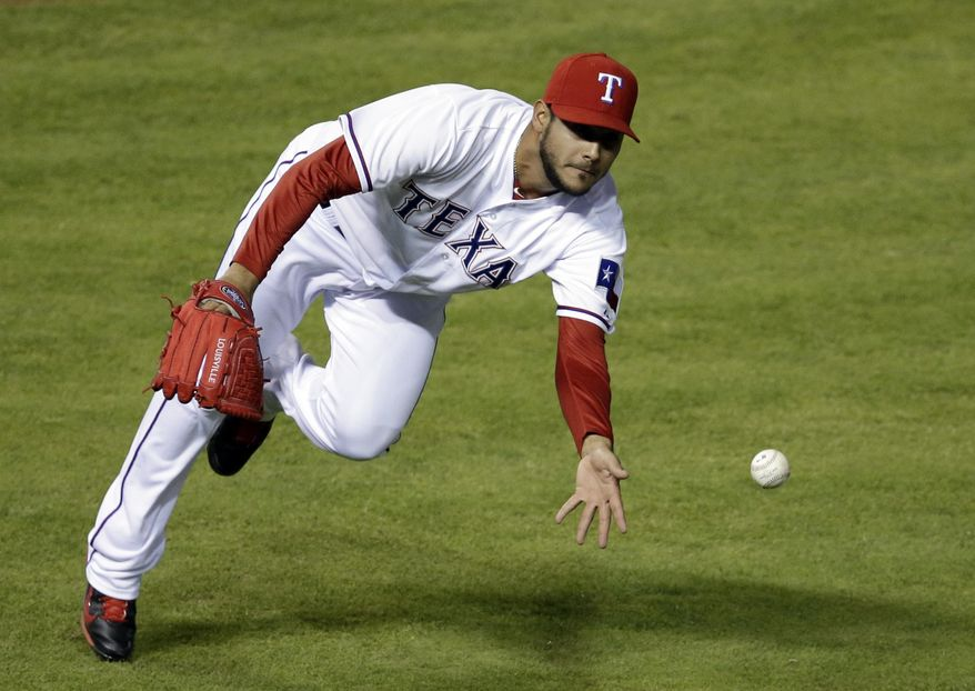 Texas Rangers' Martin Perez flips to ball to first to get the out against Chicago White Sox's Paul Konerko in the fourth inning of a baseball game, Friday, April 18, 2014, in Arlington, Texas. (AP Photo/Tony Gutierrez)