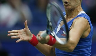 Czech Republic's Lucie Safarova returns a ball to Italy's Sara Errani during the Fed Cup semifinals in Ostrava, Czech Republic, Saturday, April 19, 2014. (AP Photo/Petr David Josek)